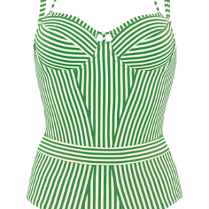Holi Vintage Plunge Balconette Badpak   Wired Padded Green-ivory - 75d